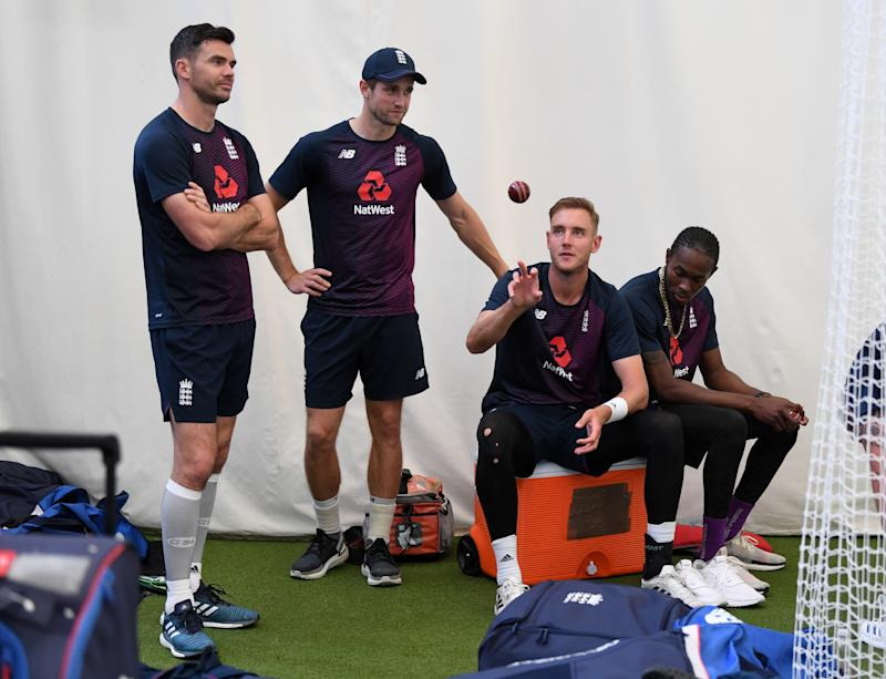BIRMINGHAM, ENGLAND - JULY 30: England bowlers James Anderson, Chris Woakes, Stuart Broad and Jofra Archer during a nets session at Edgbaston on July 30, 2019 in Birmingham, England. (Photo by Gareth Copley/Getty Images)