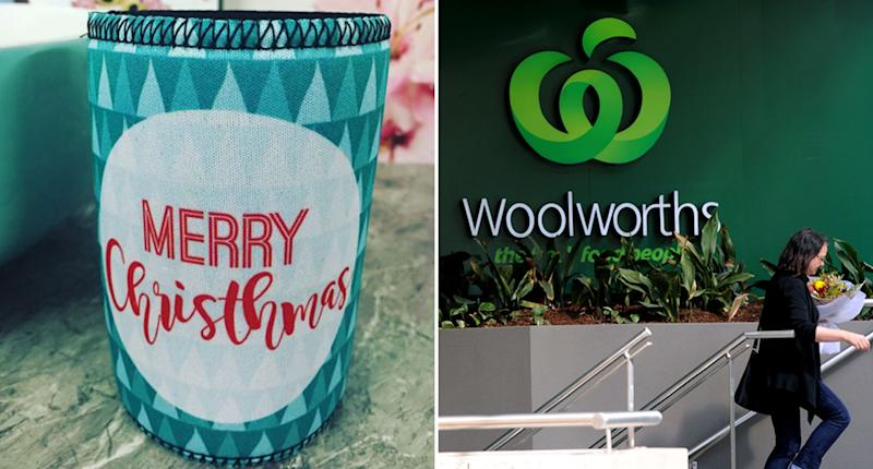 A misspelt Woolworths stubby holder which reads 'Merry Chrithmas' and a woman seen walking up a staircase outside a Woolworths supermarket.