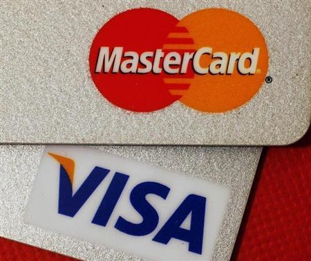 MasterCard and VISA credit cards are seen in this illustrative photograph taken in Hong Kong