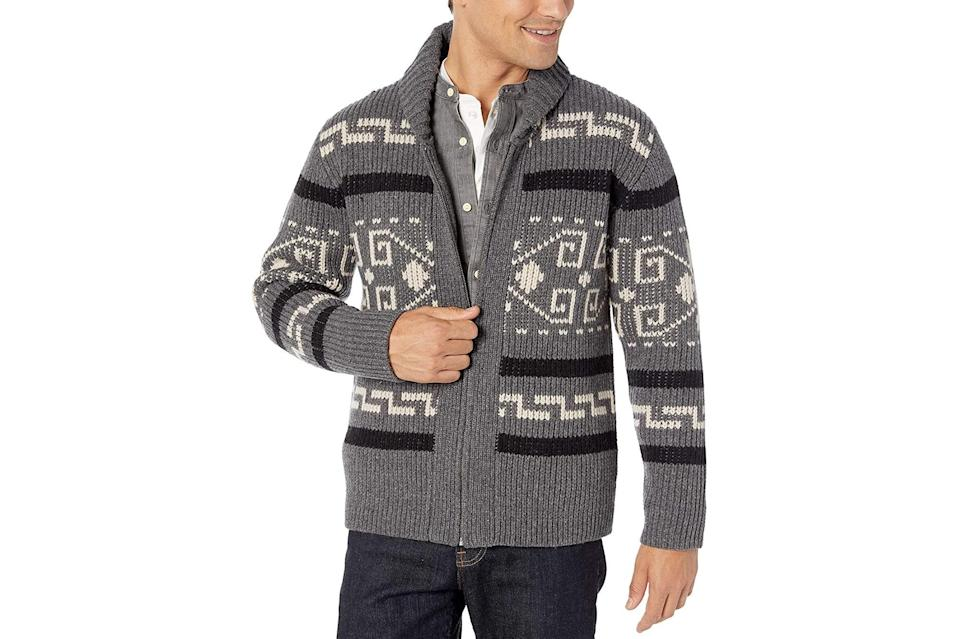 "$142, Amazon. <a href=""https://www.amazon.com/Pendleton-Original-Westerley-Sweater-Black/dp/B07MWTB2VX/ref=sr_1_1?dchild=1&fst=as%3Aoff&qid=1599565082&refinements=p_n_feature_eighteen_browse-bin%3A14630392011&rnid=14630382011&s=apparel&sr=1-1&th=1&psc=1"" rel=""nofollow noopener"" target=""_blank"" data-ylk=""slk:Get it now!"" class=""link rapid-noclick-resp"">Get it now!</a>"