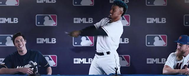 """Francisco Lindor, Christian Yelich and <a class=""""link rapid-noclick-resp"""" href=""""/mlb/players/9597/"""" data-ylk=""""slk:Noah Syndergaard"""">Noah Syndergaard</a> are among the players in MLB's new """"Let the Kids Play 2.0"""" ad. (MLB)"""