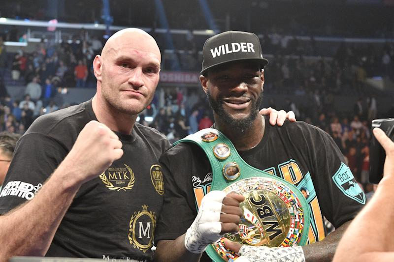 Deontay Wilder and Tyson Fury during the WBC Heavyweight Championship bout at the Staples Center in Los Angeles. (Photo by Lionel Hahn/PA Images via Getty Images)