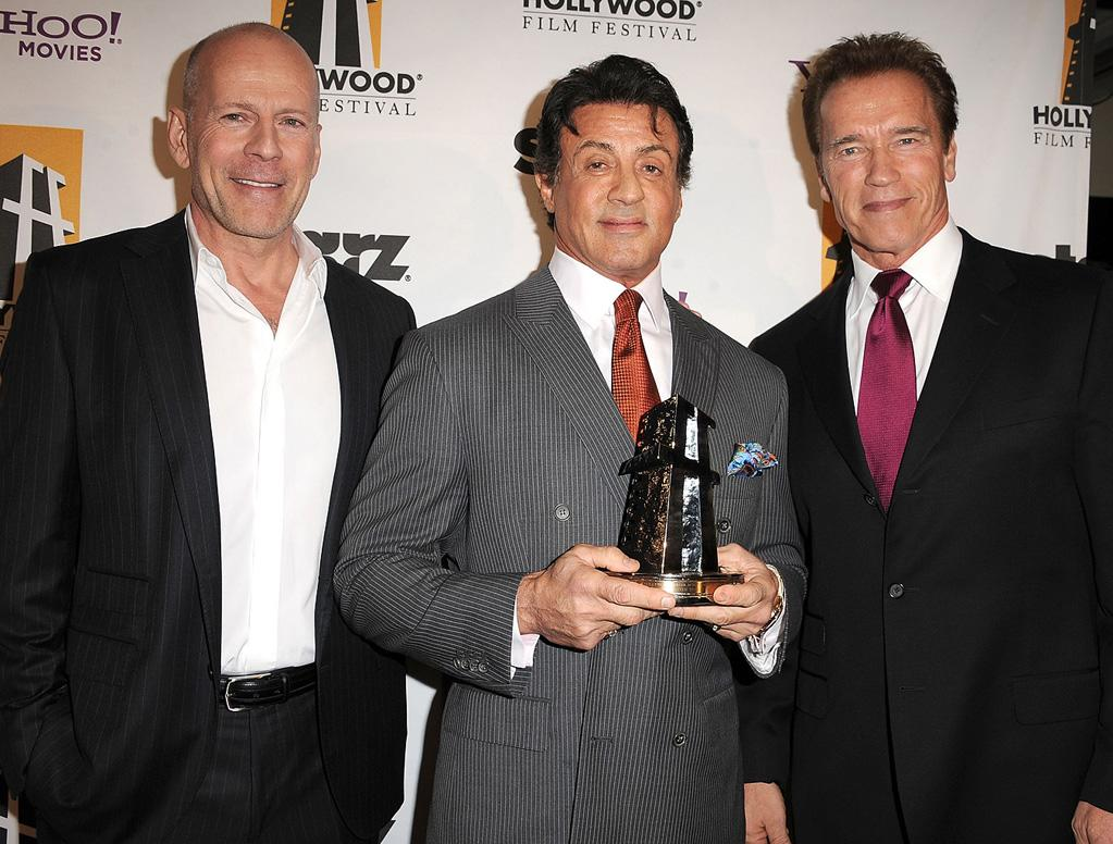 "<a href=""http://movies.yahoo.com/movie/contributor/1800018749"">Bruce Willis</a>, <a href=""http://movies.yahoo.com/movie/contributor/1800020291"">Sylvester Stallone</a> and <a href=""http://movies.yahoo.com/movie/contributor/1800021514"">Arnold Schwarzenegger</a> attend the 14th Annual Hollywood Awards Gala at the Beverly Hilton Hotel on October 25, 2010."