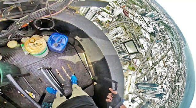 Bryce Wilson filmed himself on a Go-Pro camera scaling the Prime Pearl building at Southbank. Photo: Bryce Wilson/Instagram