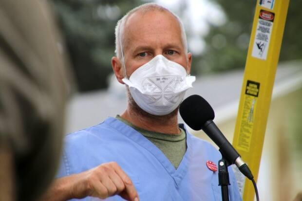 Dr. Joe Vipond is a spokesperson for the advocacy group ProtectOurProvince Alberta, which is launching its own regular COVID-19 briefings in the absence of updates from provincial officials.  (Rachel Maclean/CBC - image credit)