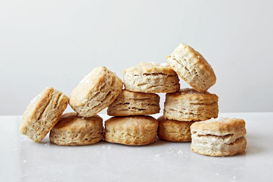 """If you took on responsibility for a <a href=""""https://www.epicurious.com/expert-advice/do-you-really-have-to-discard-sourdough-starter-article?mbid=synd_yahoo_rss"""" rel=""""nofollow noopener"""" target=""""_blank"""" data-ylk=""""slk:sourdough starter"""" class=""""link rapid-noclick-resp"""">sourdough starter</a> this year, you likely found yourself with lots of discard. But don't toss it! Instead, bake these tender, tangy biscuits, which our editor Joe Sevier <a href=""""https://www.epicurious.com/expert-advice/sourdough-biscuits-sourdough-starter-article?mbid=synd_yahoo_rss"""" rel=""""nofollow noopener"""" target=""""_blank"""" data-ylk=""""slk:uncovered in an old church cookbook"""" class=""""link rapid-noclick-resp"""">uncovered in an old church cookbook</a>. <a href=""""https://www.epicurious.com/recipes/food/views/sourdough-biscuits?mbid=synd_yahoo_rss"""" rel=""""nofollow noopener"""" target=""""_blank"""" data-ylk=""""slk:See recipe."""" class=""""link rapid-noclick-resp"""">See recipe.</a>"""