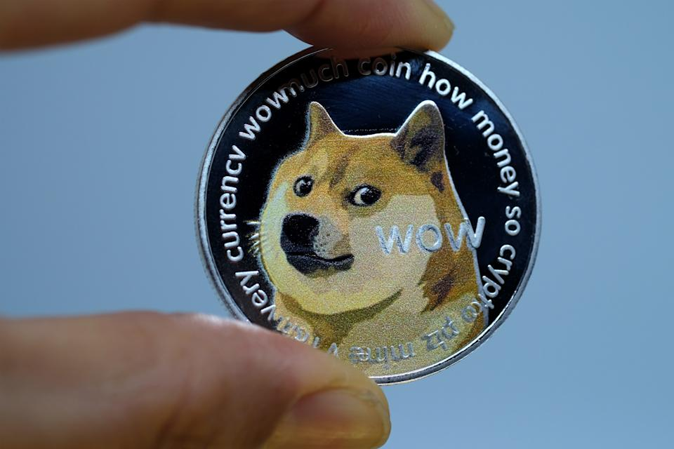 The cryptocurrency, which started as a joke in 2013, has rallied this week as internet users tried to push the value of the coin to $1. It is currently down at $0.61. Photo: Yuriko Nakao/Getty Images