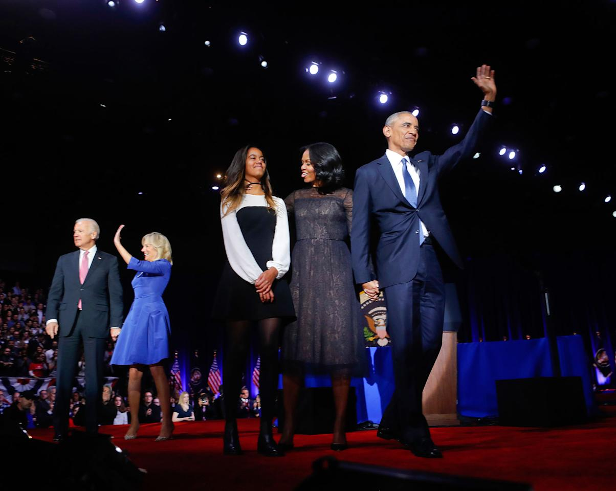 <p>President Barack Obama on stage with first lady Michelle Obama, daughter Malia, Vice President Joe Biden and his wife Jill Biden after his farewell address at McCormick Place in Chicago, Tuesday, Jan. 10, 2017. (AP Photo/Pablo Martinez Monsivais) </p>