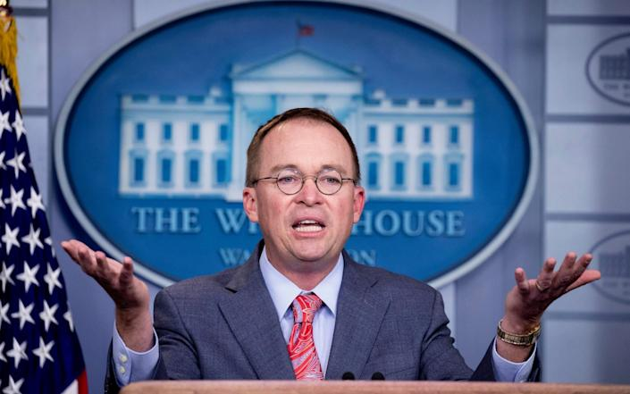 Former Chief of Staff Mick Mulvaney told Secretary of State Mike Pompeo he could no longer stay in the Trump government - MICHAEL REYNOLDS/EPA-EFE/REX /REX