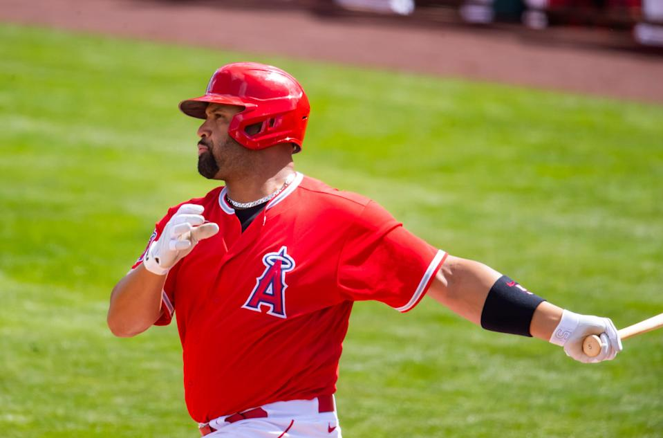 First baseman Albert Pujols enters his 21st MLB season, the last 10 of them with the Los Angeles Angels.