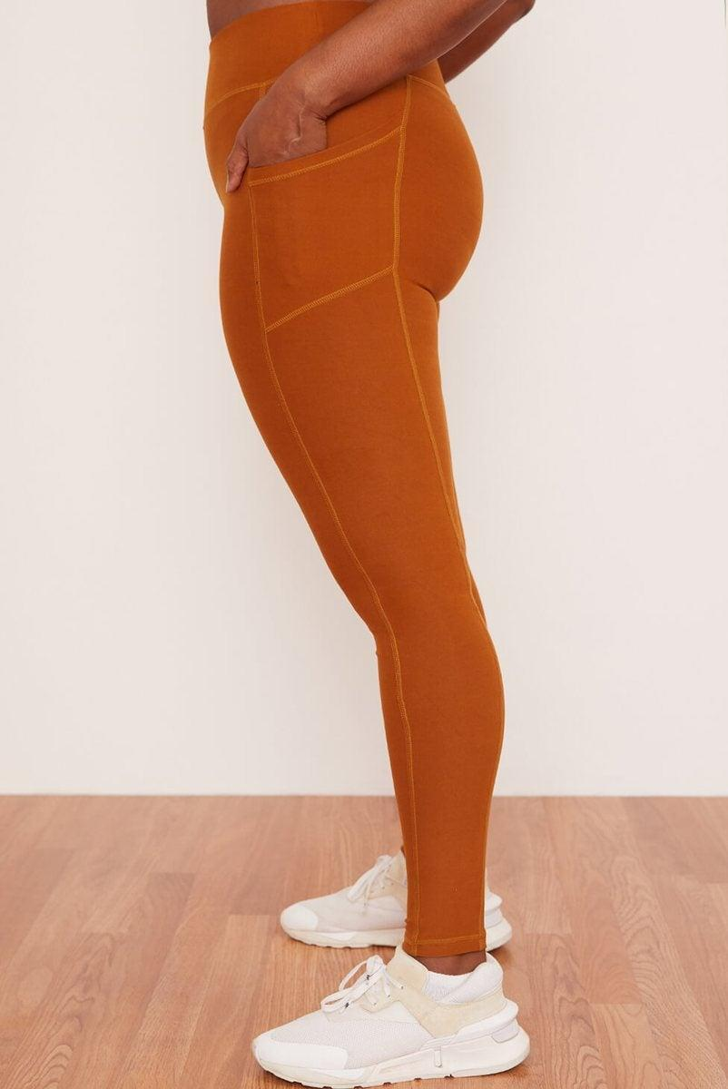 """<h2>Wolven</h2><br>Wolven first appeared on our radar during the great crossover leggings-gate of last fall, when a sold-out pair from Aerie inspired a run on every pair of v-waist tights on the internet. However, there's so much more to this California-cool brand of activewear. All of their stretchy goods are made from recycled materials, and thanks to a partnership with <a href=""""https://oneearth-oneocean.com/en/"""" rel=""""nofollow noopener"""" target=""""_blank"""" data-ylk=""""slk:One Earth One Ocean"""" class=""""link rapid-noclick-resp"""">One Earth One Ocean</a>, the brand removes one pound of plastic from the sea for every order that they receive.<br><br><em>Shop <strong>Wolven</strong></em><br><br><strong>Wolven</strong> Turmeric Pocket Legging, $, available at <a href=""""https://go.skimresources.com/?id=30283X879131&url=https%3A%2F%2Fwolventhreads.com%2Fcollections%2Fbestsellers%2Fproducts%2Fturmeric-legging%3Fvariant%3D21519345287251"""" rel=""""nofollow noopener"""" target=""""_blank"""" data-ylk=""""slk:Wolven"""" class=""""link rapid-noclick-resp"""">Wolven</a>"""