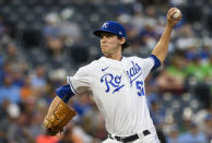 Kansas City Royals starting pitcher Daniel Lynch throws to a Houston Astros batter during the first inning of a baseball game Tuesday, Aug. 17, 2021, in Kansas City, Mo. (AP Photo/Reed Hoffmann)