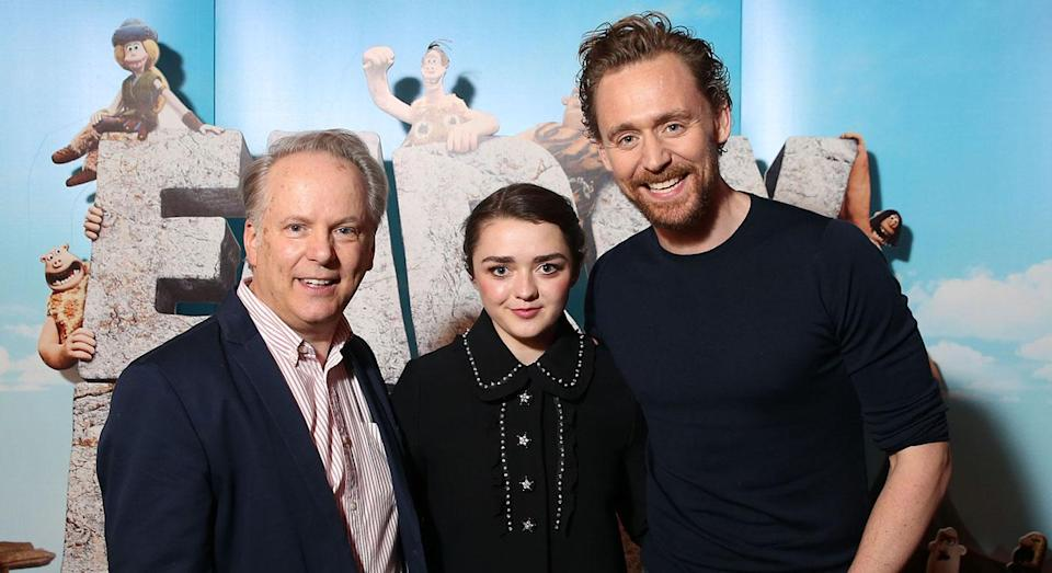 Director Nick Park and 'Early Man' stars Maisie Williams and Tom Hiddleston pose for cameras. (Studiocanal)