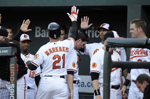Baltimore Orioles' Nick Markakis (21) celebrates his home run against the Cleveland Indians with teammates in the dugout during the first inning of a baseball game, Monday, June 24, 2013, in Baltimore. (AP Photo/Nick Wass)