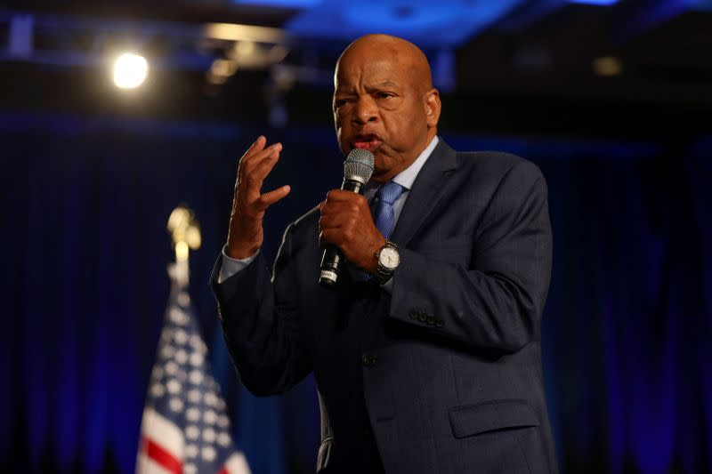 U.S. Representative John Lewis speaks to the crowd at the Stacey Abrams watch party for mid-terms election at the Hyatt Regency in Atlanta, Georgia