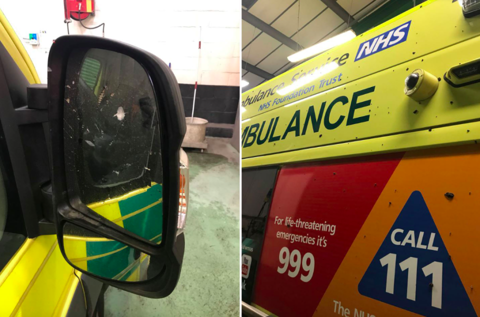 <em>The ambulance was attacked while paramedics were treating a patient (Twitter/@OFFICIALWMAS)</em>