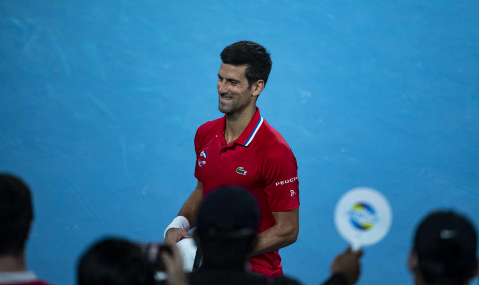 Novak Djokovic celebrates after his victory over Alexander Zverev during day four of the 2021 ATP Cup at Rod Laver Arena on February 05, 2021 in Melbourne, Australia.