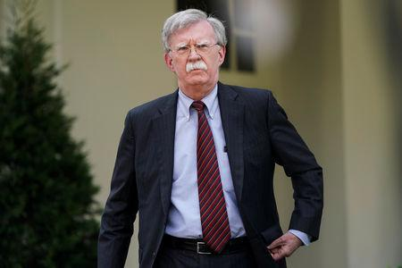 White House national security adviser John Bolton arrives to speak about the political unrest in Venezuela after violence broke out at anti-government protests near Caracas, outside the White House in Washington, U.S., April 30, 2019. REUTERS/Joshua Roberts