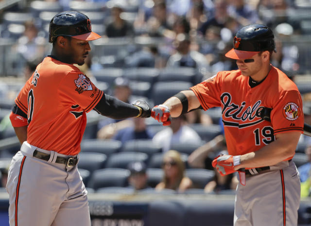 Baltimore Orioles' Adam Jones, left, is greeted by Chris Davis after hitting a solo home run against the New York Yankees in the first inning of a baseball game, Saturday, June 21, 2014, in New York. (AP Photo/Julie Jacobson)