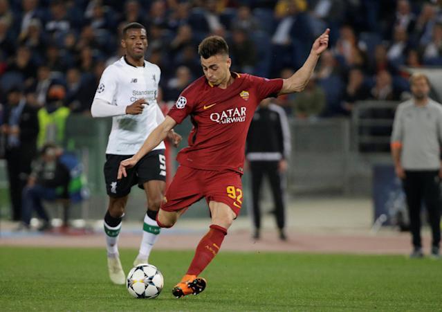 Soccer Football - Champions League Semi Final Second Leg - AS Roma v Liverpool - Stadio Olimpico, Rome, Italy - May 2, 2018 Roma's Stephan El Shaarawy shoots against the post REUTERS/Max Rossi