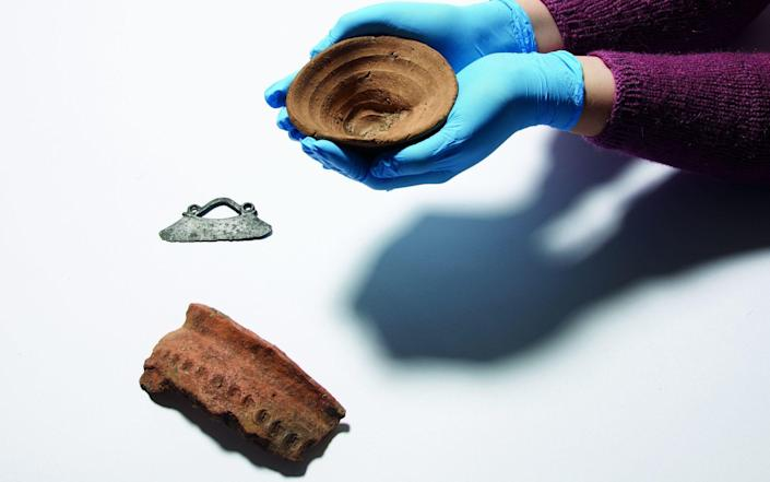 An ancient disposable cup which is going on display at the British Museum - PA