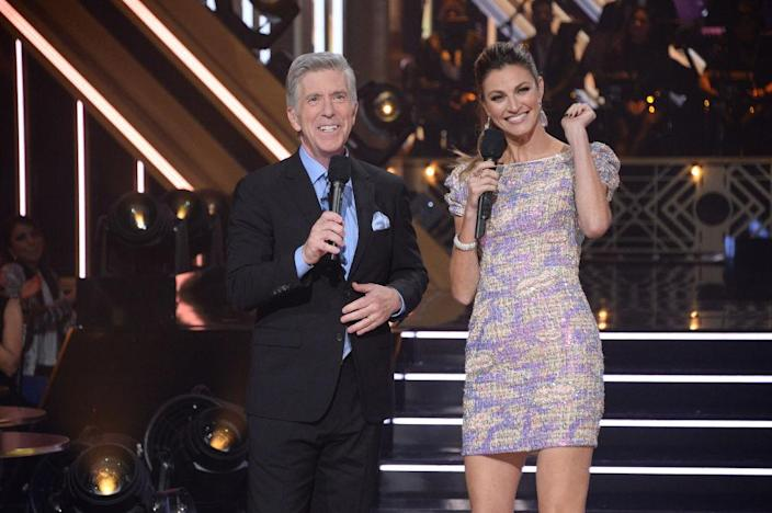 """Tom Bergeron and Erin Andrews host a November 2019 episode of """"Dancing With the Stars."""" (Photo: Eric McCandless/ABC via Getty Images)"""