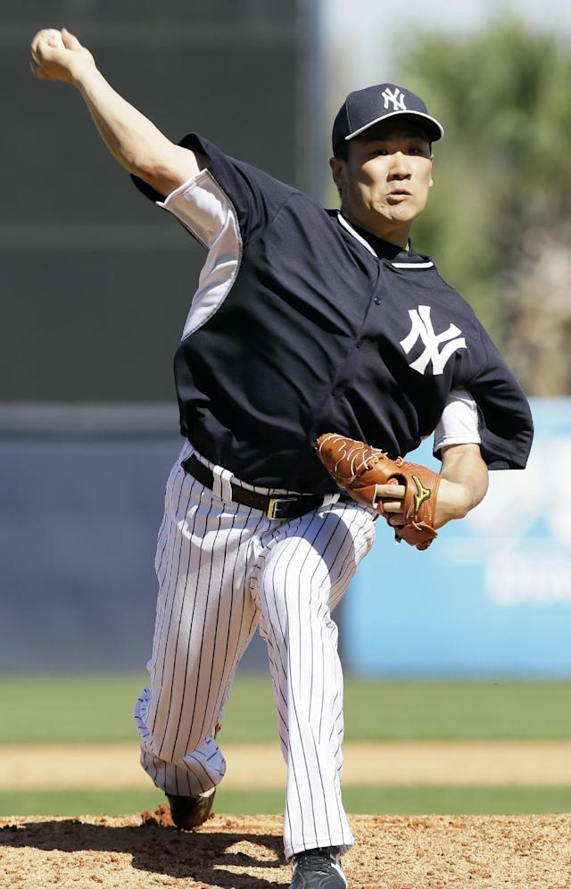 New York Yankees pitcher Masahiro Tanaka throws a pitch during the fifth inning of an exhibition baseball game against the Philadelphia Phillies Saturday, March 1, 2014, in Tampa, Fla. (AP Photo/Charlie Neibergall)