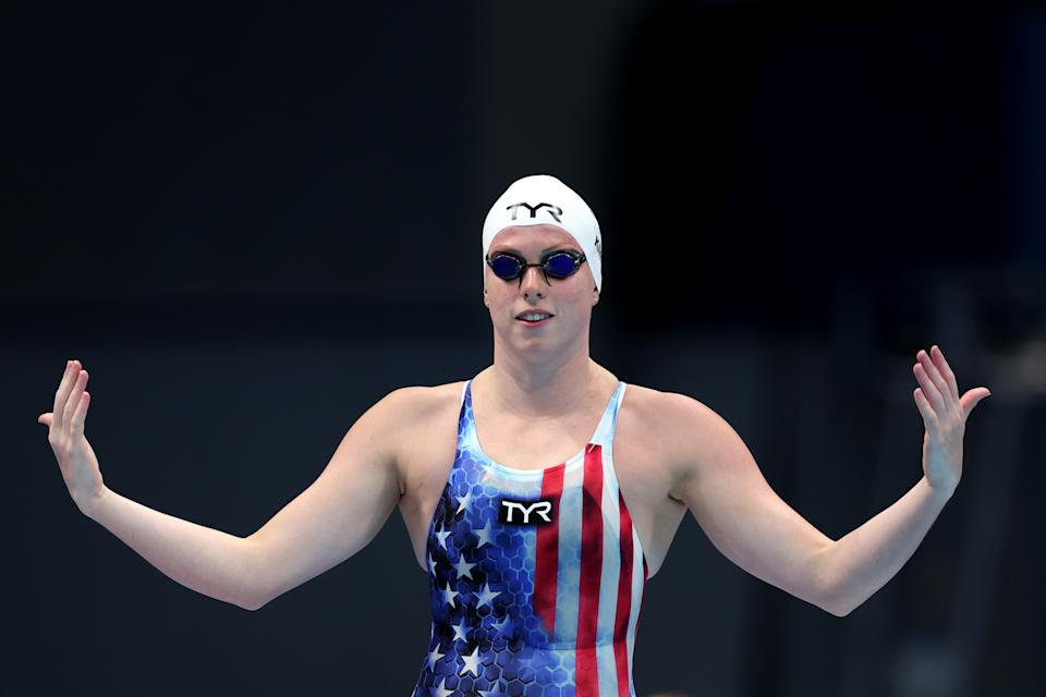 TOKYO, JAPAN - JULY 25: Lilly King of Team United States competes in heat six of the Women's 100m Breaststroke on day two of the Tokyo 2020 Olympic Games at Tokyo Aquatics Centre on July 25, 2021 in Tokyo, Japan. (Photo by Clive Rose/Getty Images)