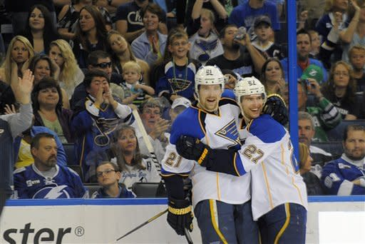 St. Louis Blues center Patrik Berglund, left, of Sweden, celebrates his first period goal with defenseman Alex Pietrangelo during an NHL hockey game, Saturday, March 17, 2012, in Tampa, Fla. (AP Photo/Brian Blanco)