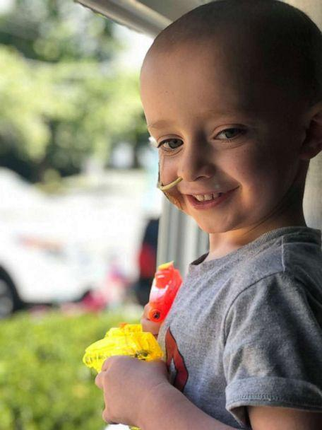 PHOTO: After numerous treatments and months spent recovering inside from brain cancer, Quinn Waters, 3, is now cancer-free. He celebrated Halloween this year by going trick-or-treating. (Jarlath Waters)
