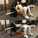<ul> <li>Sitting on the floor with your legs extended, rest your back against a stable bench.</li> <li>Place a towel or shoulder cushion on the bar for comfort (optional). Roll the barbell over your thighs until the bar is directly above your hip joints.</li> <li>Brace your core. As you drive your heels into the ground, squeeze your glutes, lifting your hips up to full extension, meaning your hips are even with your knees.</li> <li>With control, lower back down to the ground.</li> <li>This is one rep.</li> <li>Do three sets of 10 reps.</li> </ul>