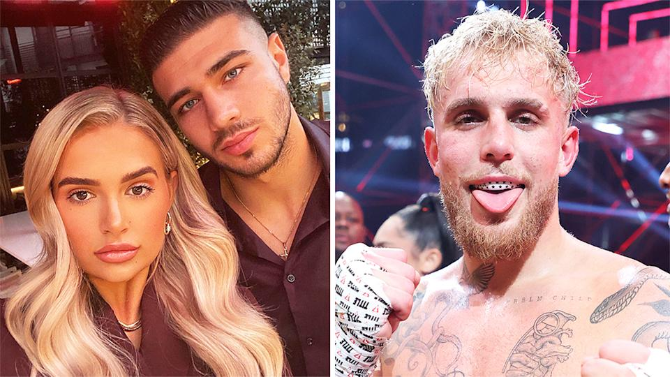 Jake Paul (pictured right) after a fight and Tommy Fury (pictured left) with girlfriend Molly Mae-Hague (pictured left).