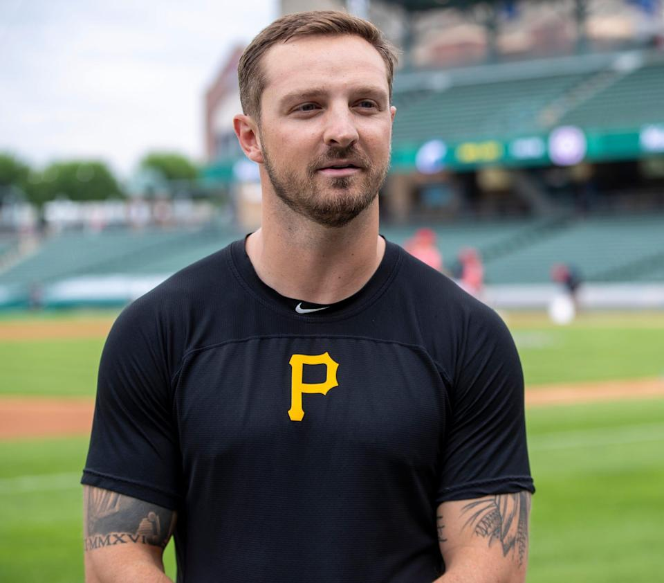 Hunter Owen talks with journalists at Indianapolis' Victory Field on Thursday, June 3, 2021, about his brief time playing in the big leagues, and the summer job he had during the quarantine.