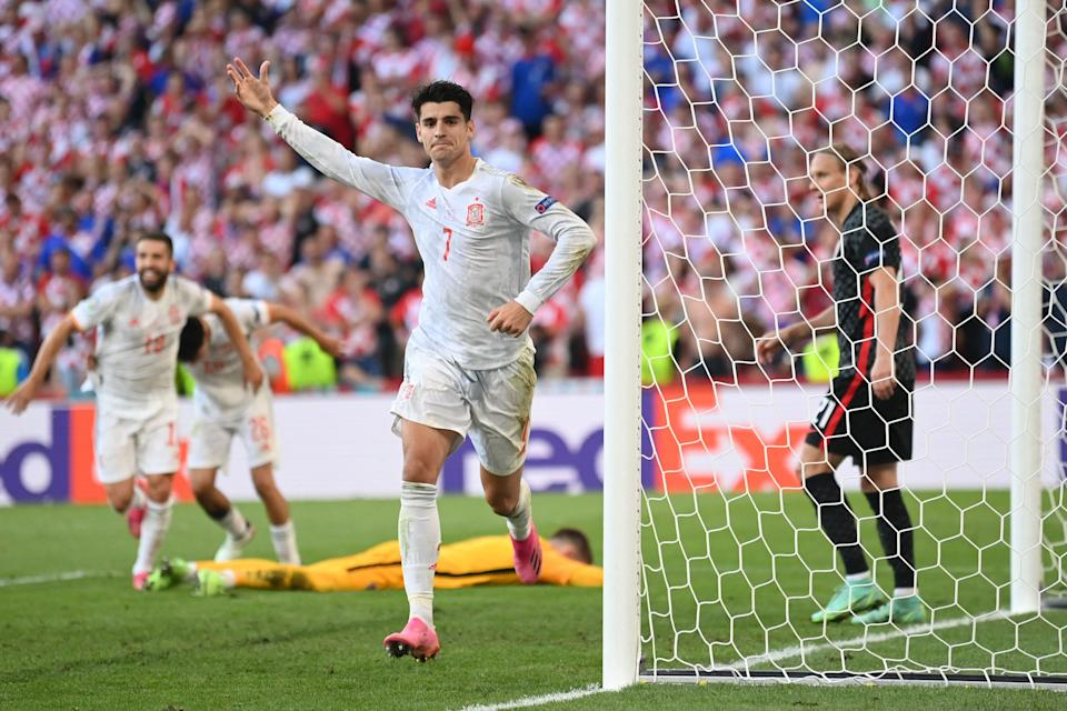Spain's forward Alvaro Morata (pictured) celebrates after scoring his team's fourth goal during the UEFA EURO 2020 Round of 16 football match between Croatia and Spain at the Parken Stadium in Copenhagen on June 28, 2021.