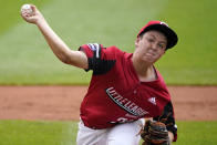 Hamilton, Ohio's Cooper Oden delivers during the first inning of a baseball game against Sioux Falls, S.D. at the Little League World Series in South Williamsport, Pa., Saturday, Aug. 28, 2021. (AP Photo/Gene J. Puskar)