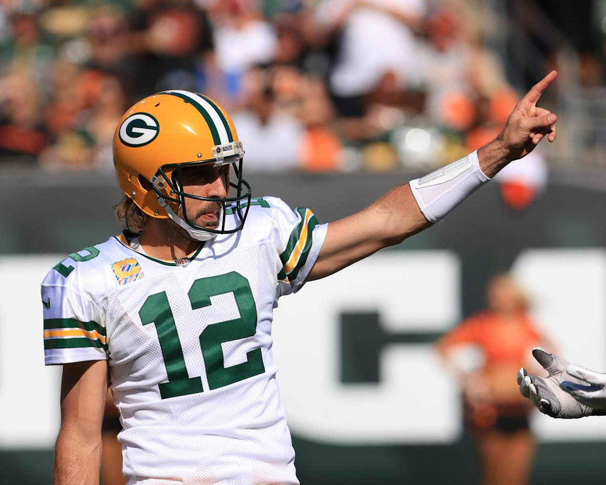 CINCINNATI, OH - OCTOBER 10: Green Bay Packers quarterback Aaron Rodgers (12) reacts during the game against the Green Bay Packers and the Cincinnati Bengals on October 10, 2021, at Paul Brown Stadium in Cincinnati, OH. (Photo by Ian Johnson/Icon Sportswire via Getty Images)