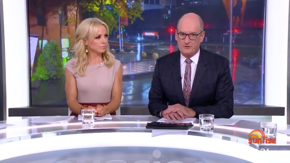 Nat's Sunrise co-host Kochie remained in the studio with Monique Wright. Photo: Channel 7.