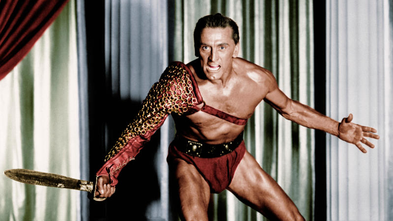 Kirk Douglas in arguably his most iconic role, as the title character in Stanley Kubrick's 'Spartacus'. (Credit: Getty)