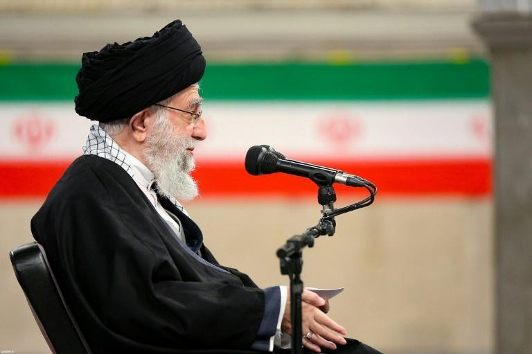 This handout picture from the office of Iran's supreme leader, Ayatollah Ali Khamenei, on February 7, 2021, shows him delivering a speech in Tehran demanding the US lift all nuclear sanctions