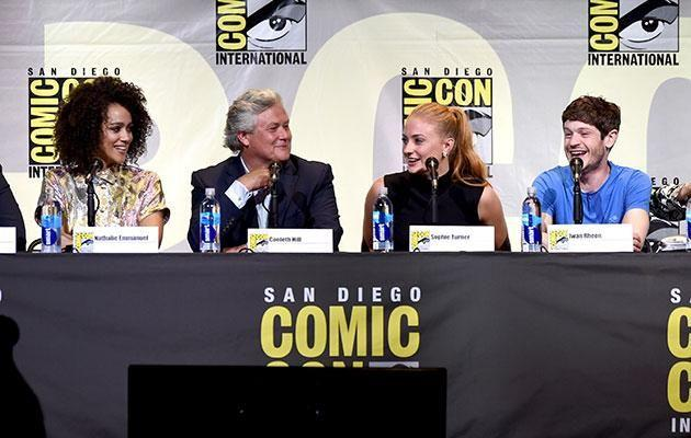 Nathalie Emmanuel, Conleth Hill, Sophie Turner, and Iwan Rheon speaking at the Game Of Thrones panel during Comic-Con. Source: Getty