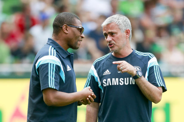 Michael Emenalo with former Chelsea boss Jose Mourinho