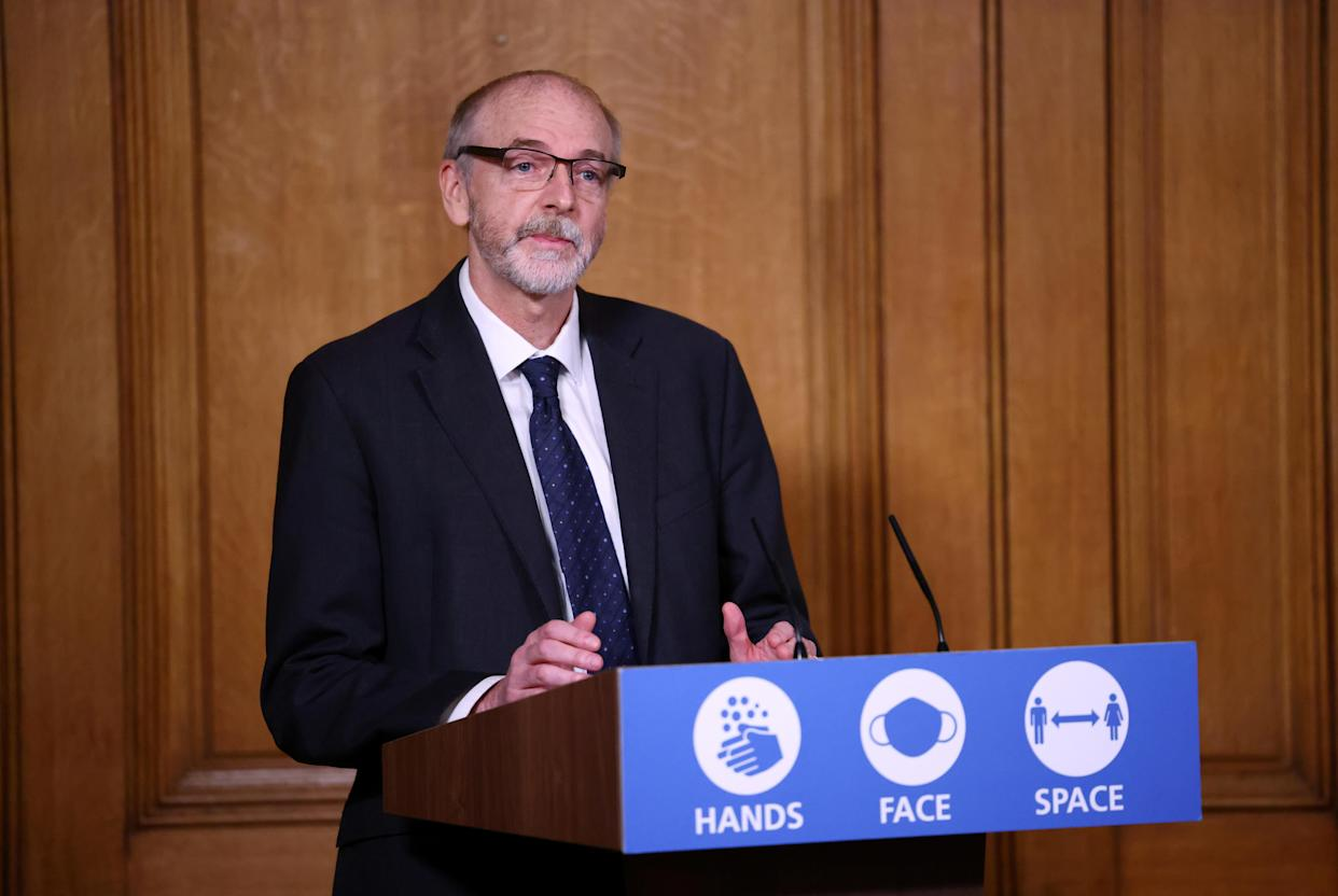 Director of the Oxford vaccine group Professor Andrew Pollard during a media briefing in Downing Street, London, on coronavirus (COVID-19).
