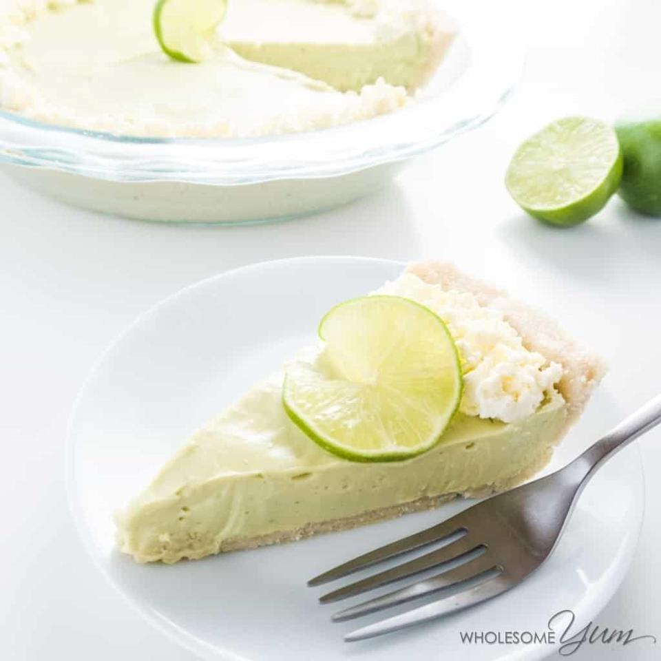 """<p>This no-bake key lime pie is tart and creamy—and uses monk fruit to keep sugar crazy low. It's also got seven grams of protein a slice, so...</p><p><a class=""""link rapid-noclick-resp"""" href=""""https://www.wholesomeyum.com/recipes/no-bake-key-lime-pie/"""" rel=""""nofollow noopener"""" target=""""_blank"""" data-ylk=""""slk:GET THE RECIPE"""">GET THE RECIPE</a></p><p><em>Per serving: 324 calories, 31 g fat, 9 g carbs, 4 g fiber, 1 g sugar, 7 g protein</em></p>"""