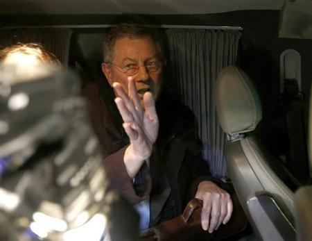 UN special envoy Robert Serry gestures as he leaves in a car in Simferopol