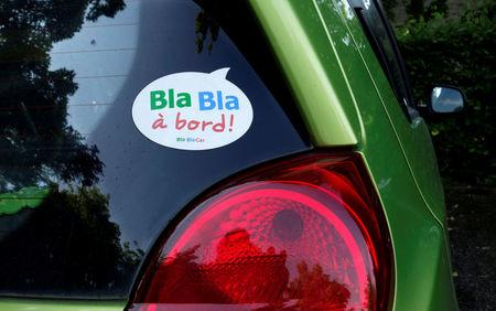FILE PHOTO: A sticker of French ride-sharing start-up BlaBlaCar is seen on a car at Le Coudray-Montceaux