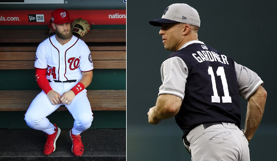Will the New York Yankees outfield have room for Bryce Harper after the team re-signed Brett Gardner? (AP Photos)