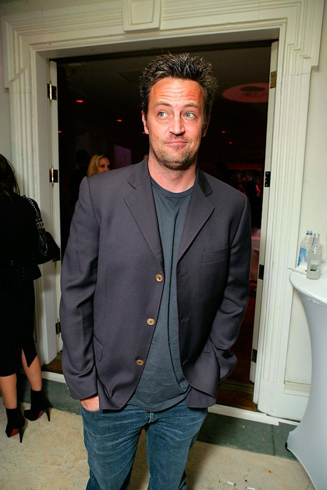 """A bemused Matthew Perry keeps an eye out for the Victoria's Secret models. Todd Williamson/<a href=""""http://www.wireimage.com"""" target=""""new"""">WireImage.com</a> - October 18, 2007"""