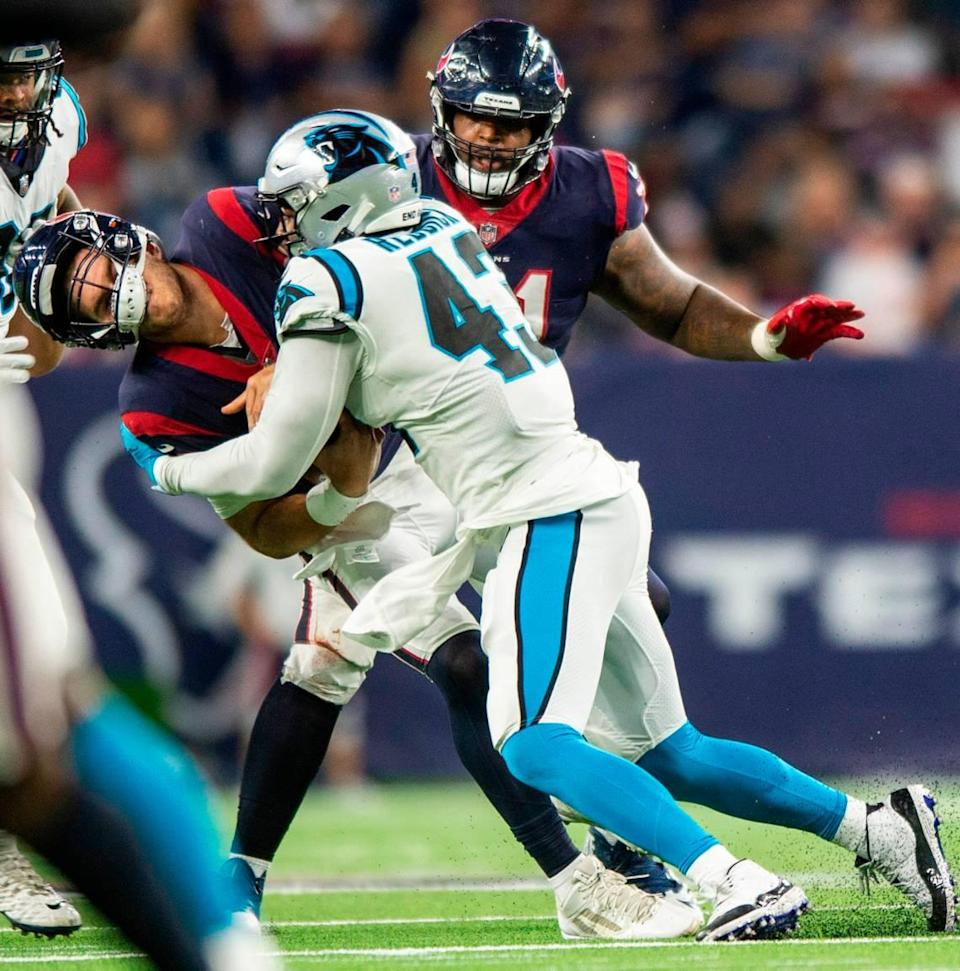 Panthers Texans during the game at NRG Stadium on Thursday, September 21, 2021 in Houston, TX.