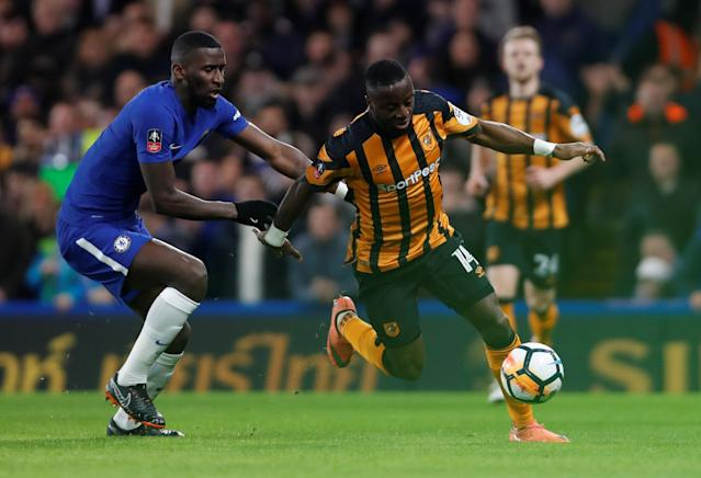 Soccer Football - FA Cup Fifth Round - Chelsea vs Hull City - Stamford Bridge, London, Britain - February 16, 2018 Chelsea's Antonio Rudiger in action with Hull City's Adama Diomande Action Images via Reuters/Paul Childs
