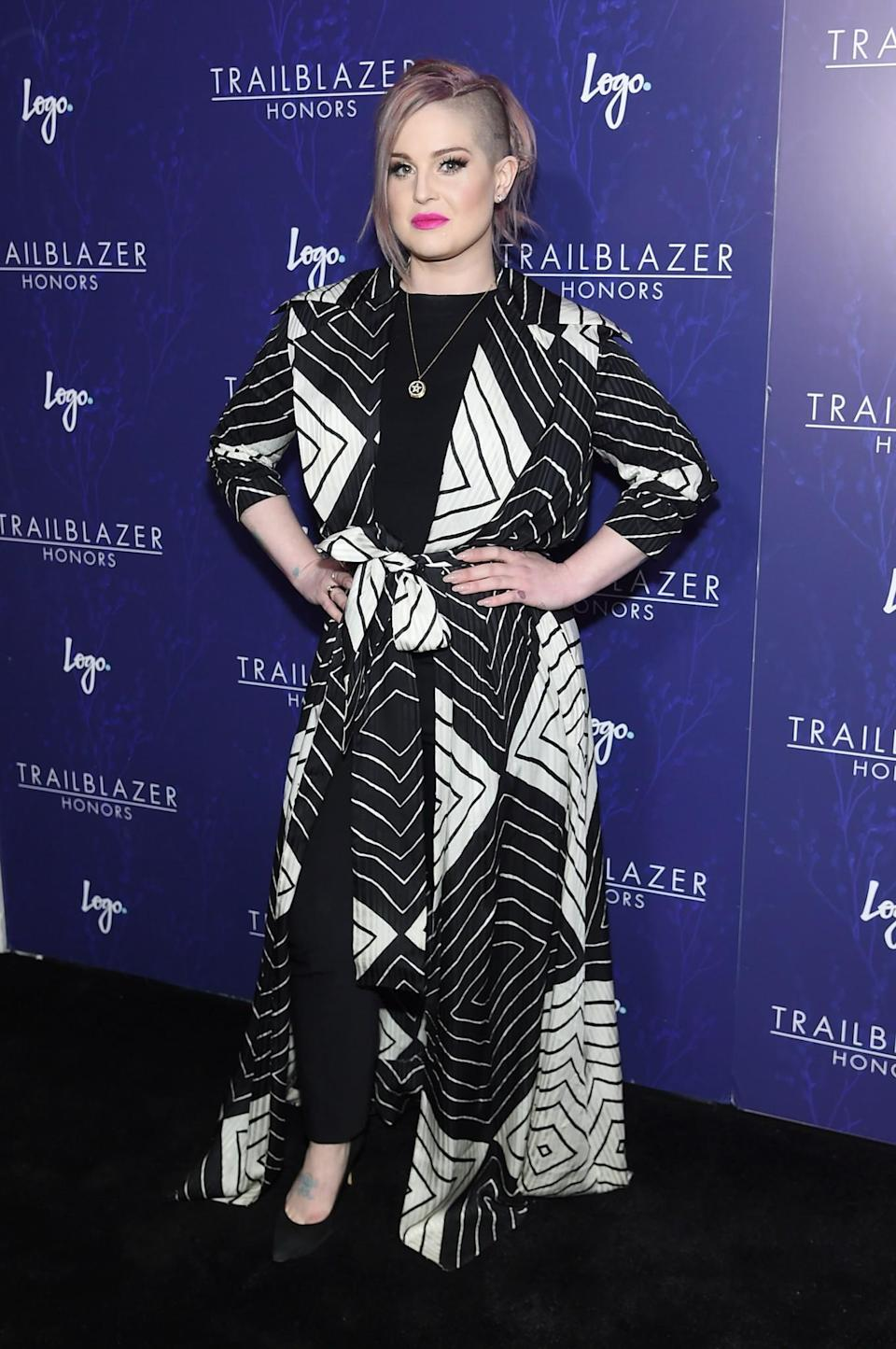 <p>The former reality star and 'Fashion Police' judge looked chic in a monochrome, graphic jacket. <br><em>[Photo: Getty]</em> </p>